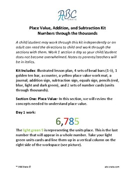 e07109abee50 Place Value, Addition, and Subtraction Kit, Numbers through the thousands