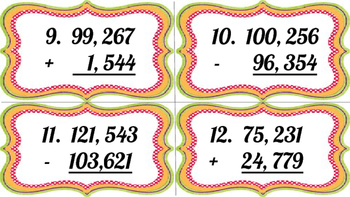 Place Value Addition and Subtraction Task Cards