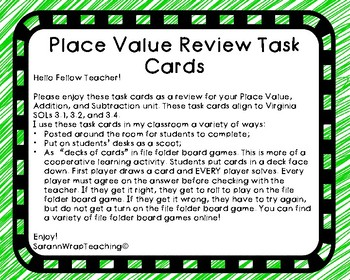 Place Value, Addition, and Subtraction Task Cards