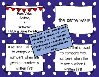 Place Value, Addition, and Subtraction Vocabulary Bundle 3rd Grade