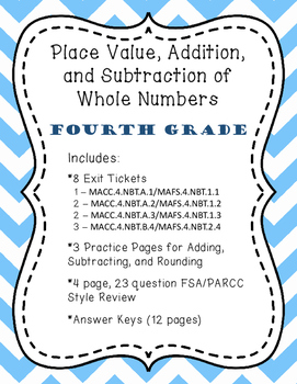 4.NBT.B.4 - Place Value, Addition, and Subtraction - Fourth Grade, Exit Tickets