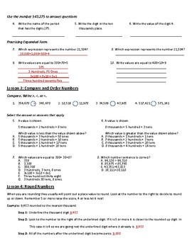 Place Value, Addition and Subtraction to 1 Million Study Guide