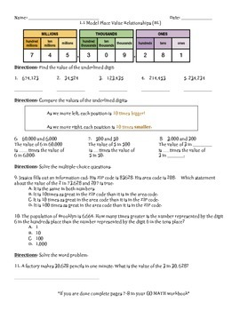 Place Value, Addition, and Subtraction to One Million