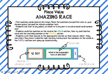 Place Value Amazing Race - 5 and 6 digit numbers with renaming