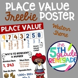 Place Value Anchor Chart FREEBIE with a Cowgirl Cowboy Western theme