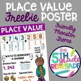 Place Value Anchor Chart FREEBIE with a Friendly Monster theme