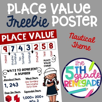 Place Value Anchor Chart FREEBIE with a Nautical theme