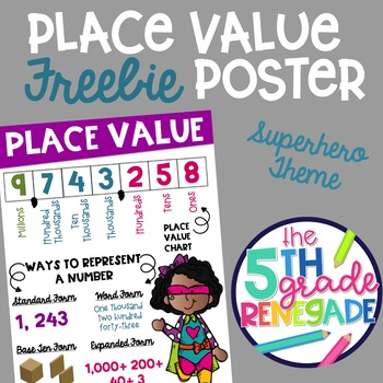 Place Value Anchor Chart Freebie With A Superhero Theme Tpt