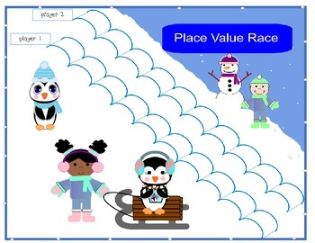 Place Value And Number Comparison- Sledding Race
