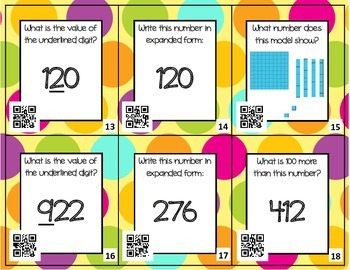 Place Value Around the Room with QR Codes