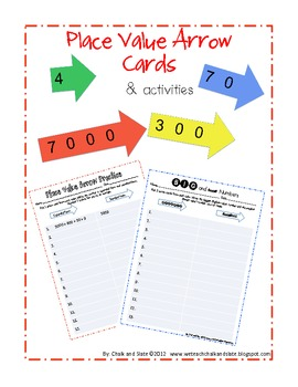Place Value Arrow Cards & Independent Activities
