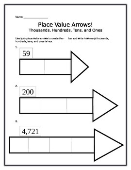 Place Value Arrow Differentiated Worksheets