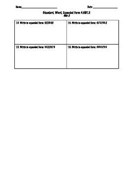 Place Value Assessment- Number Forms 4.NBT.2