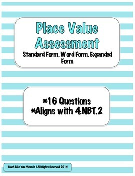 Place Value Assessment- Number Forms 4.NBT.2