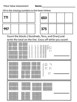 Place Value Assessment- Second Grade