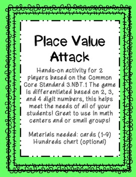 Place Value Attack 3.NBT.1 Differentiated
