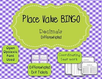 Place Value Game - BINGO - Decimals {Differentiated}