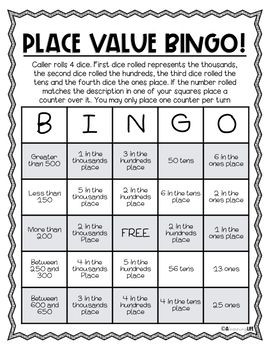 No Prep Place Value BINGO: For 4 Digit Numbers