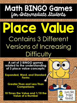 Place Value BINGO Math Game for Intermediate Students - Three Versions to Play!