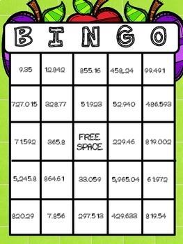 Place Value BINGO - decimals through the thousandths