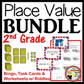 Place Value BUNDLE (Bingo, Task Cards, Worksheets w/ Riddles) Grades 2-3