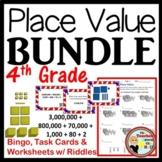 A Place Value BUNDLE - Bingo/Task Cards/Worksheets w/ Riddles  Grades 3-5