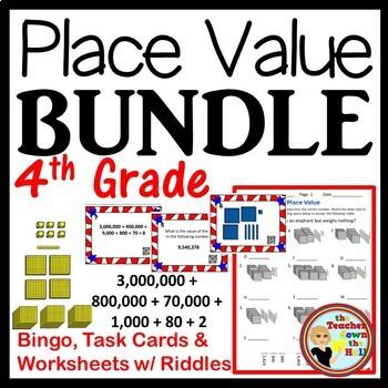 Place Value BUNDLE - Bingo/Task Cards/Worksheets w/ Riddle