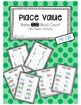 Place Value Base 10 Block Match File Folder - 1 digit 2 di
