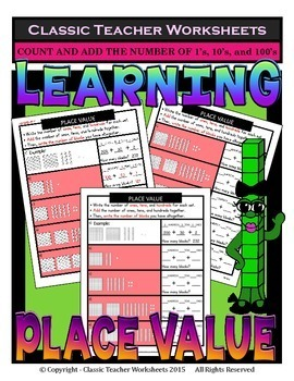 Place Value-Base 10 Blocks- Add Number of 1's/10's/100's - Gr. 2-3 (2nd-3rd Gr.)