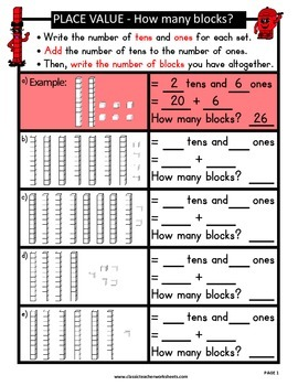 Place Value-Base 10 Blocks - Add Number of 1's & 10's-Grades 1-2 (1st-2nd Grade)