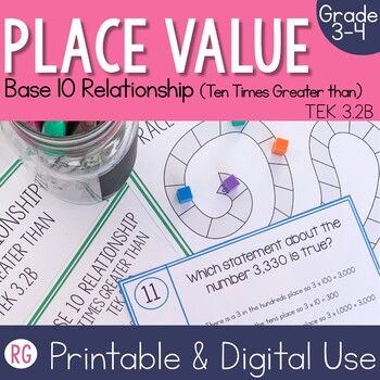 Place Value Base 10 Relationship (Times 10) Activities