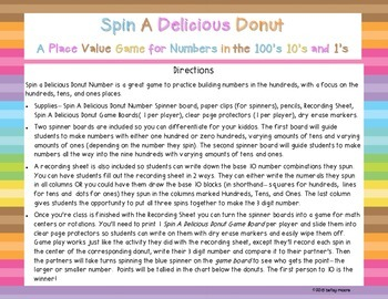Place Value/ Base 10 Spin Hundreds, Tens, and Ones Game Delicious Donuts