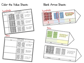Place Value Cards with Base Ten Block Pictures (ones, tens, hundreds)