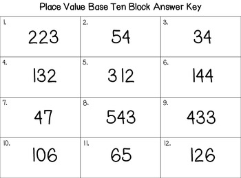Place Value Base Ten Block Task Cards