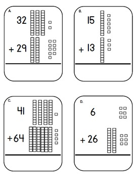 place value base ten block and cubes addition task cards adding tens center. Black Bedroom Furniture Sets. Home Design Ideas