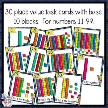 Place Value - Base Ten Blocks - 2 digit - Scoot/Matching activity