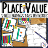 Place Value Task Cards with Base Ten Blocks - 2 digit - Co