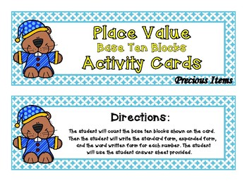 Place Value Base Ten Blocks to 1200 Activity Cards- Groundhogs
