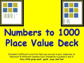 Place Value Base Ten Numbers up to 1000 Card Deck and Activity Set Common Core