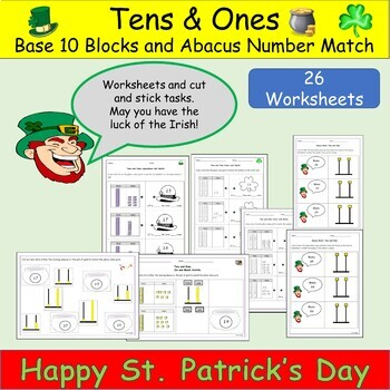 Place Value - Base Ten St Patrick's Day Math Matching Activity