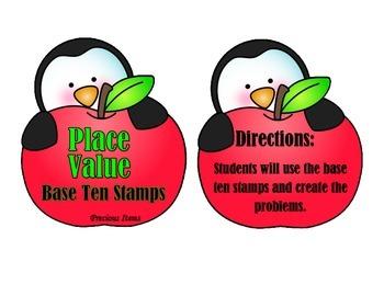 Place Value Base Ten Stamps - Penguin & Apples