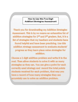 Place Value Based Addition Strategies Assessment