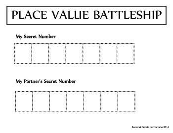 Place Value Battleship Game