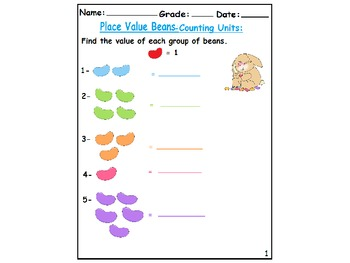 Place Value Beans-Counting Tens & Ones-Up to 60 :Grade 1 Worksheets(19):