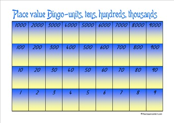 Place Value Bingo 1-9000