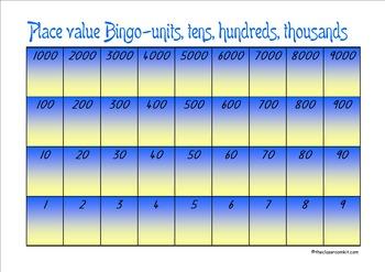 Place Value Bingo 1-9000