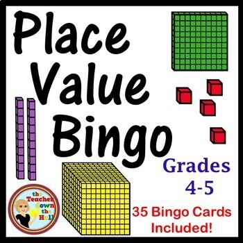 Place Value Bingo - Whole Group Review Activity w/ 35 Bingo Cards!