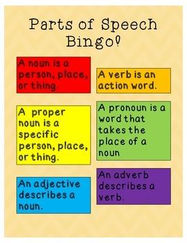 Parts of Speech Bingo!