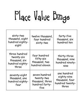Place Value Bingo Card Set