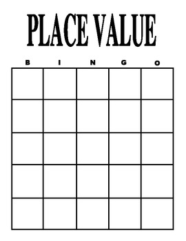 Place Value Bingo Card and Pieces